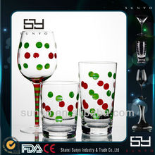 Handmade Crystal Wine Glass and drinking glass set with Decal