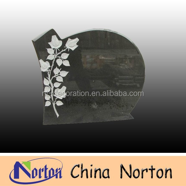 carved leaf pattern beautiful black granite tombstone design NTGT-122