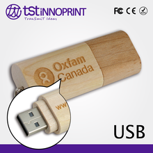Natural Style Custom Logo Wooden Stick USB with Key Ring