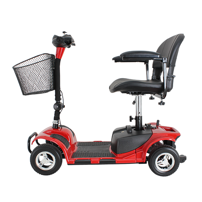 Four wheels folding handicapped electric mobility scooter with leather seat