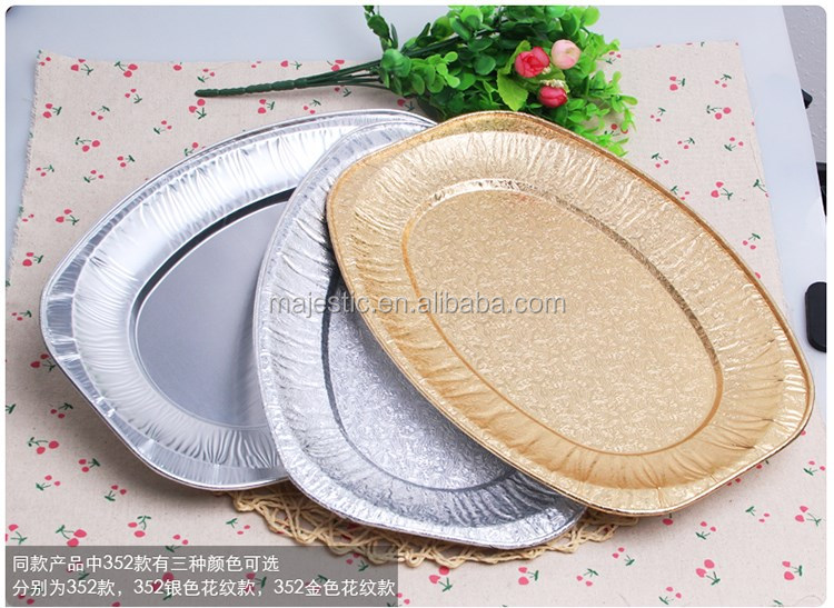 Full Size Food Serving Disposable Aluminium Foil Plate Oval Food Tray
