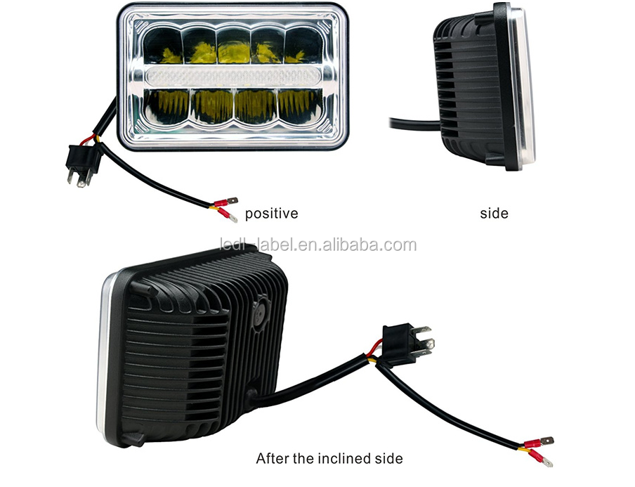 "DOT approved 4x6"" 45w led headlight H4 plug 12V 45w led head light Hi/Lo beam light for trucks"