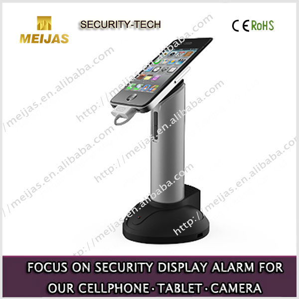 Smart mobile phone security stand holder with alarm