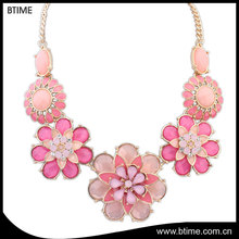 Fashion sweet flower shaped colorful elegant jewelry necklace