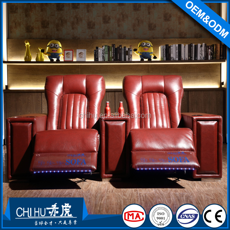 Luxury big size fashional living room furniture leather home recliner cinema sofa