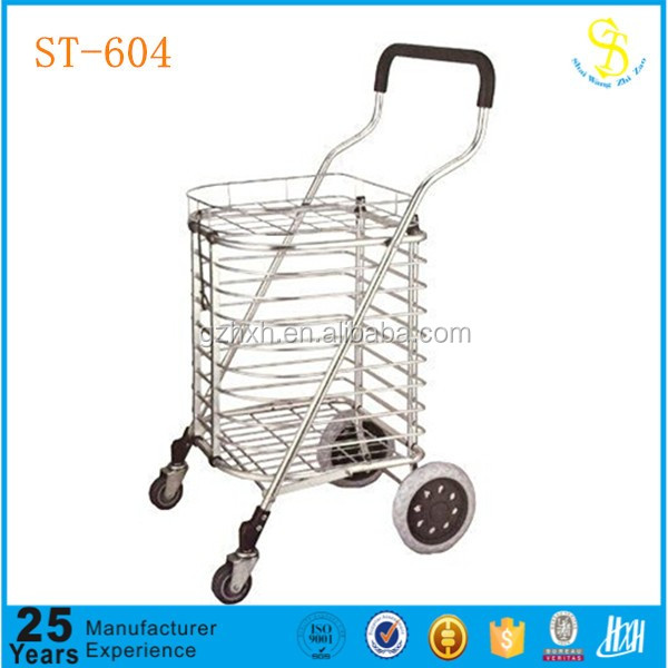 Store rolling shopping trolley cart, aluminum trolley cart, iron wire shopping trolley