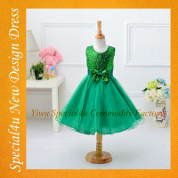 Green color children fancy dress new style children summer dress good looking picture of children casual dress SA-933