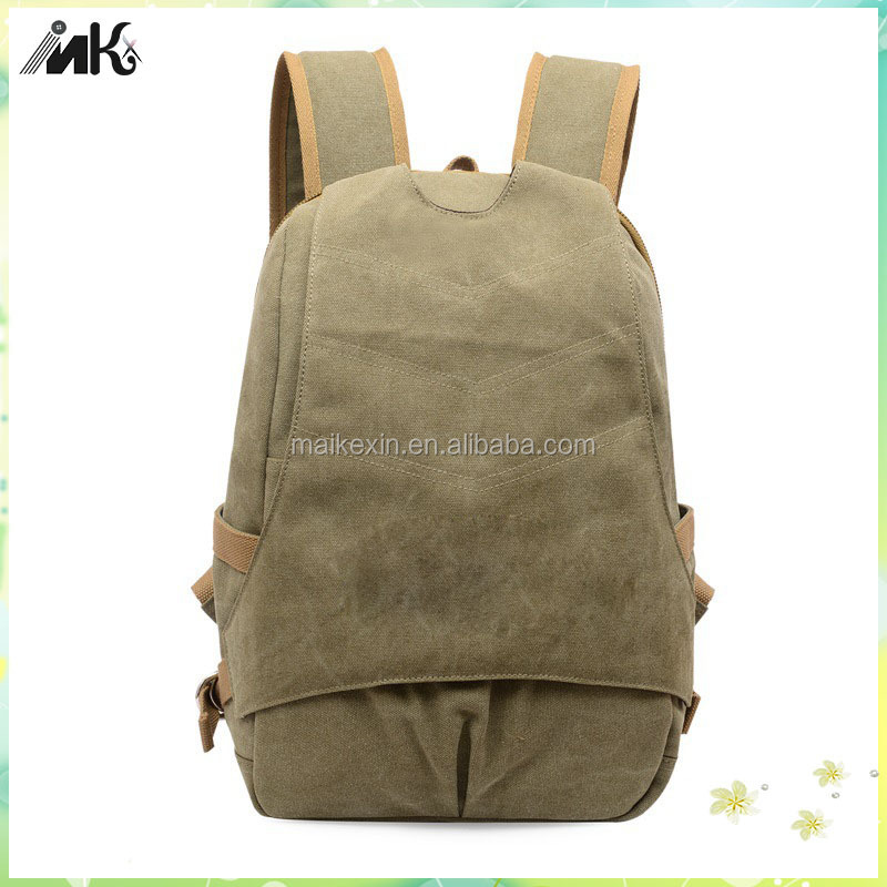 Army green laptop pocket shoulder bag vintage canvas backpack