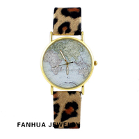 New Arrival Leopard PU Leather Adjustable Wristband Map Mineral Glass Analog Quartz Women Wrist Watch