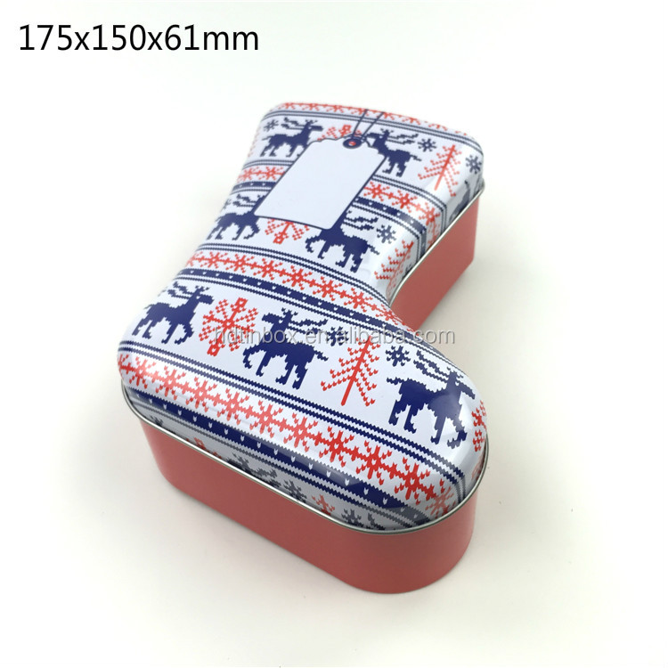 Direct factory sale boot or sock shaped gift metal christmas tin box