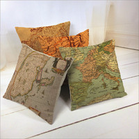 Custom World Map Digital Printing Hand Made Cushion Cover
