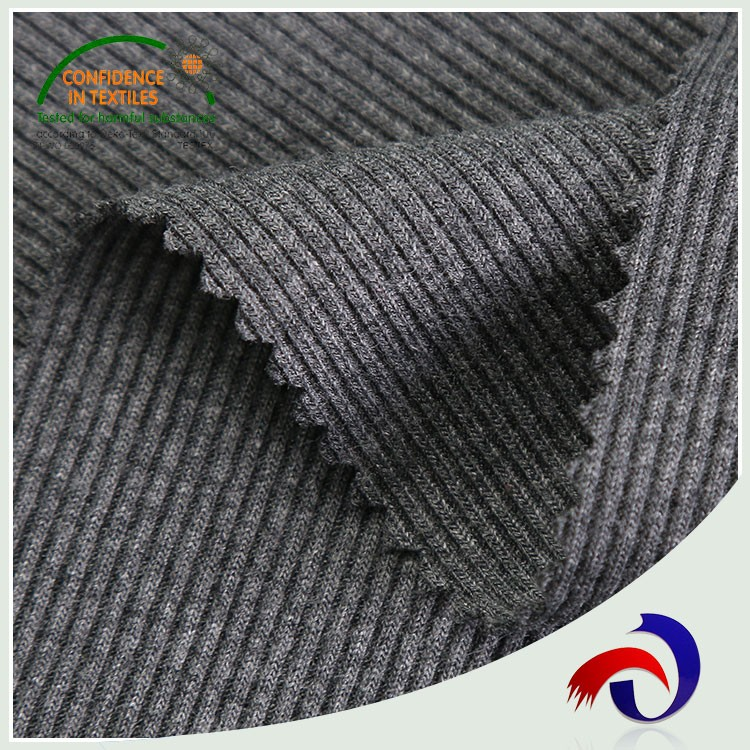 Chinese products wholesale striped spandex 65 cotton 35 polyester knit rib fabric for cuff gargemt