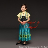 Summer Anna Dress Girls Elsa Dresses Cosplay Costume With Sunflower Kids Clothing For Wholesale GD50611-6