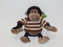 25cm lovely brown/black stuffed plush monkey animal toy with striped sweater ICTI Audited factory(YANGZHOU)