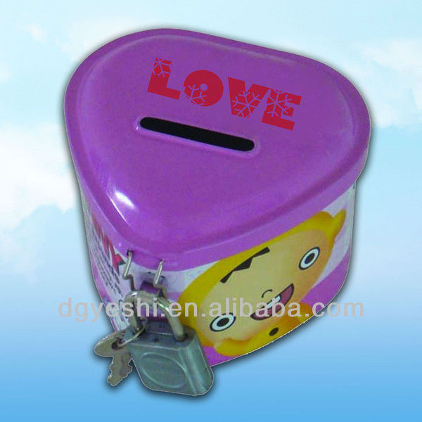 kids favor heart shape piggy bank coin collection money storage box with lock and key