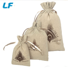 Small Christmas linen gift drawstring pouch bag