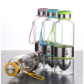 Fruit Infuser Water Bottle Glass Water Bottle 600ml H2O Water Bottle Outdoor