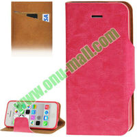Hot Sale TPU + Leather Flip Case for iPhone 5C with Credit Card Slot & Holder(Red)