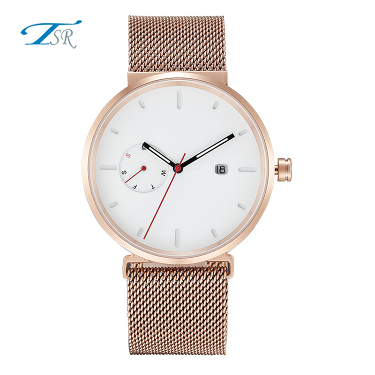 TSR Black Genuine Leather Strap Silver Mesh Band Japan Movement Stainless Steel Case Quartz Watches for Men