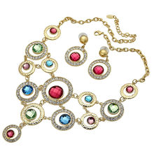 Multi-Color 18K Yellow Gold Plated Necklace Earrings Jewellery Set