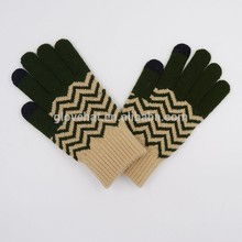 2017 Best Selling Winter Army Green Striped Magic Gloves For Sports