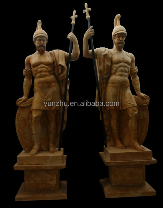 Garden natural marble stone carving Roman soldier sculpture