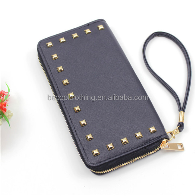 Large Capacity Pu Leather Woman Zipper Lady Purse Clutch Wallet with rivet metal