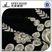 2017 gold embroidery 100% polyester sequin velvet fabric for sofa