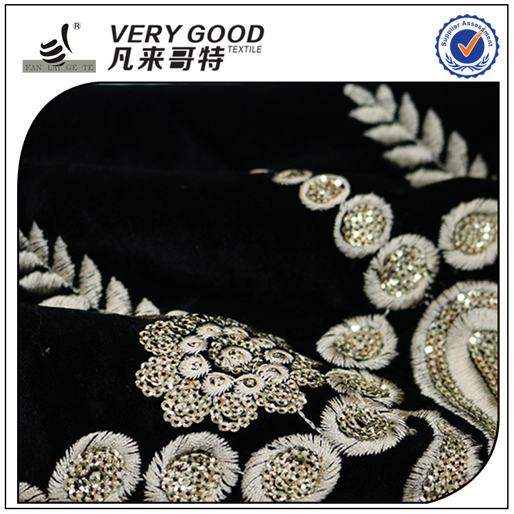 Wholesale gold embroidery 100% polyester sequin velvet fabric for sofa