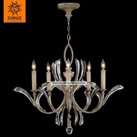 Antique 5 lights Metal Crystal Warm muted silver leaf candle chandelier for bedroom