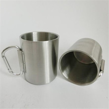 Stainless steel coffee mug with carabiner handle, Various colors available