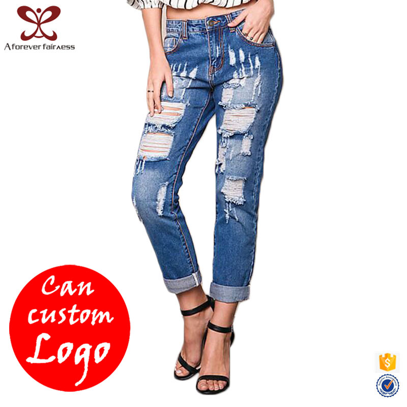 AFF New Fashion Latest design Ladies New Model Jeans Pants Blue Rompers Damaged Jeans Latest Women New Pattern jeans 2017