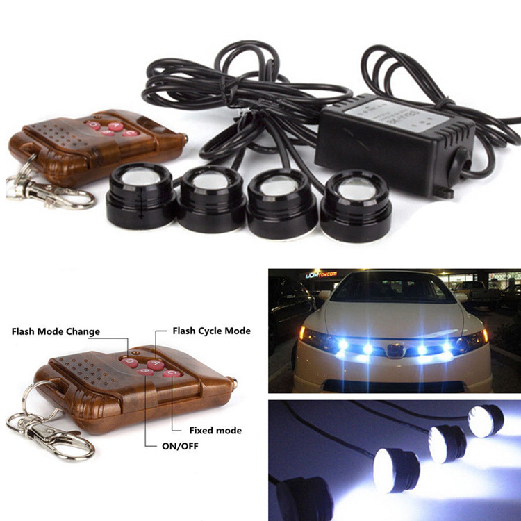 car styling LED Eagle eye DRL 4*3W Strobe Flash Eagle Eye daytime running light Wireless Remote strobe controller parking light