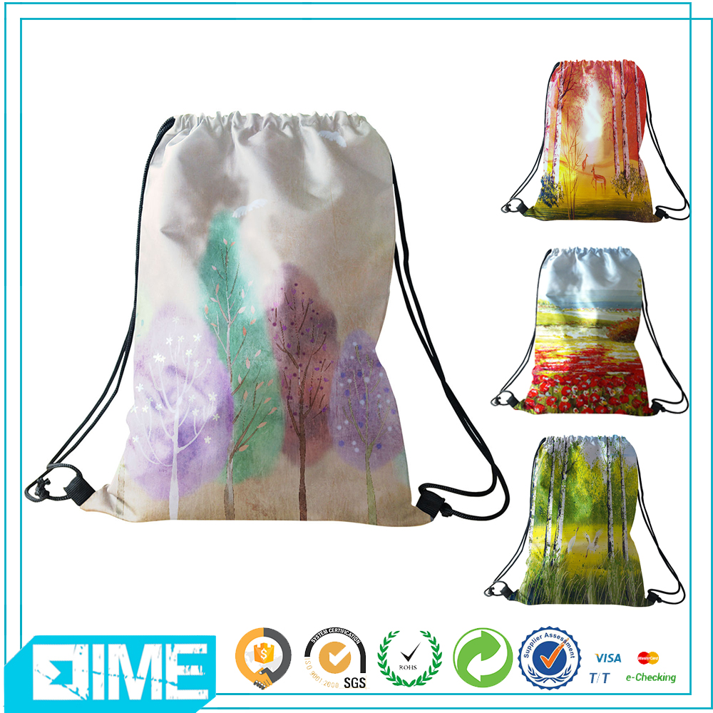 eco friendly shopping polyester drawstring bag for ladies