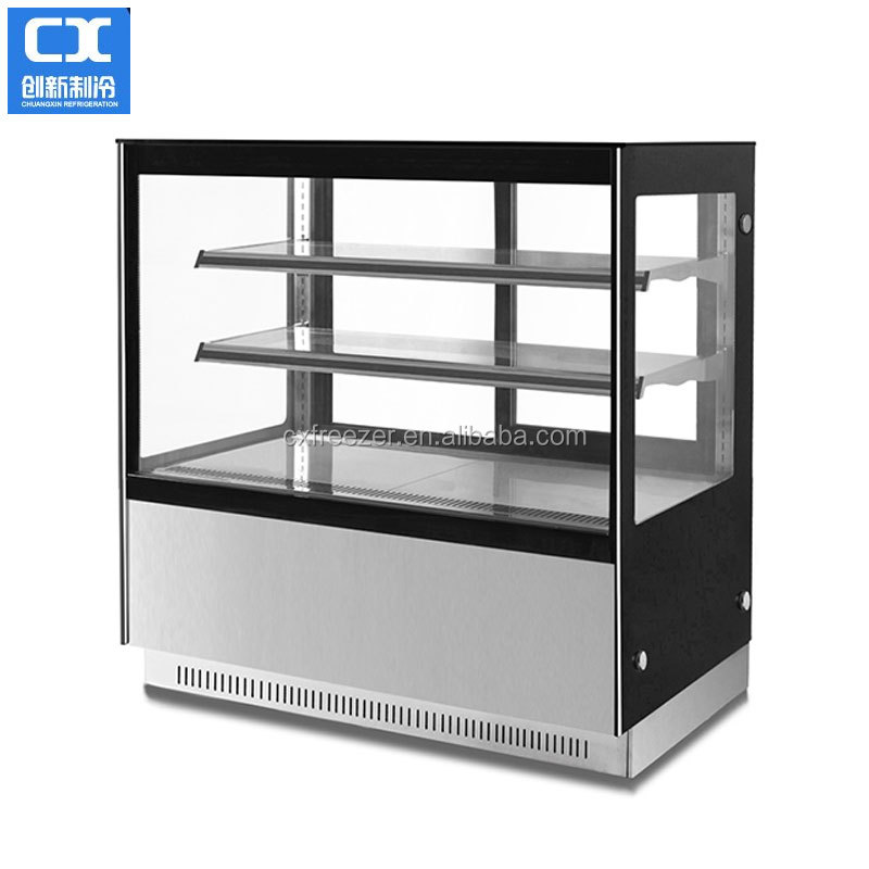 Glass door cake chiller no frost for bakery store with CE