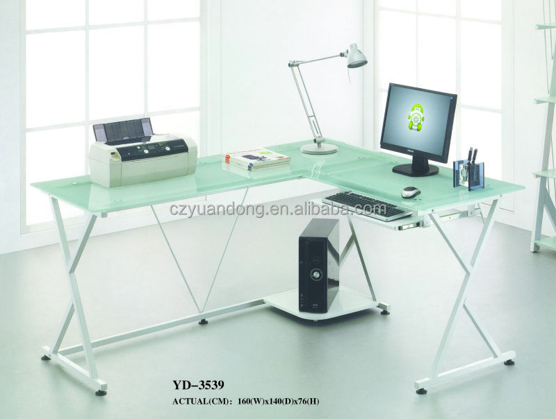 office furniture tempered glass desktop metal frame corner computer desk