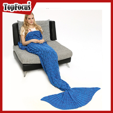 Soft Acrylic Adult Kids Mermaid Tail Blanket With Scale
