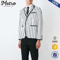 2016 korean style black and white cotton striped blazer