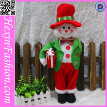2014 Newest Lovely Plush Snowman Standing Before Fence