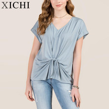 Knot Front Cuff Sleeve Cupro Top women new t shirt oem