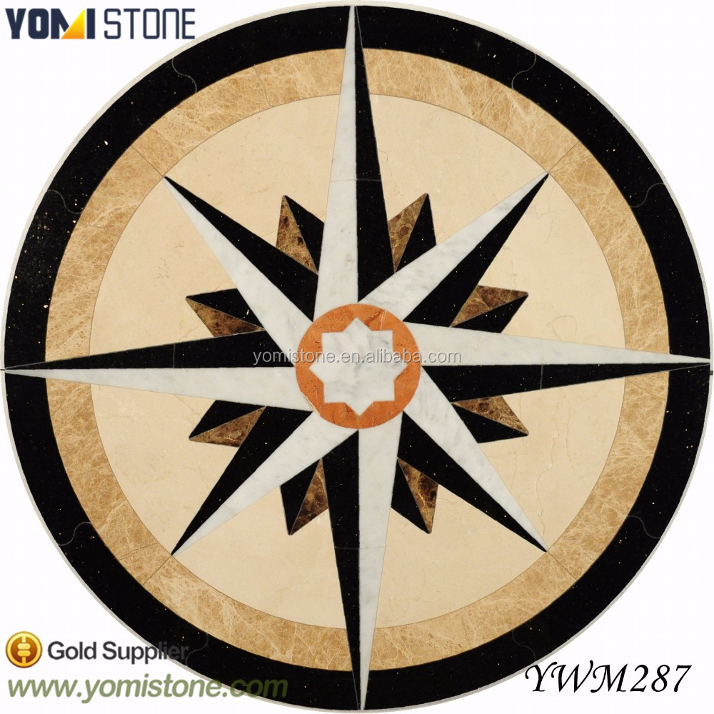Cheap Price Company Logo Design Waterjet Marble Stone Flooring Tile