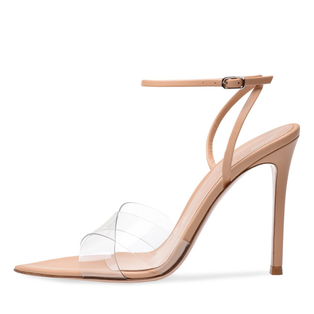 newest pvc nude sandal transparent plastic high <strong>heels</strong> for women