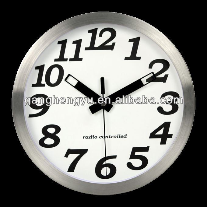 DCF Radio controlled wall clock ,RCC clock ,large metal wall clock