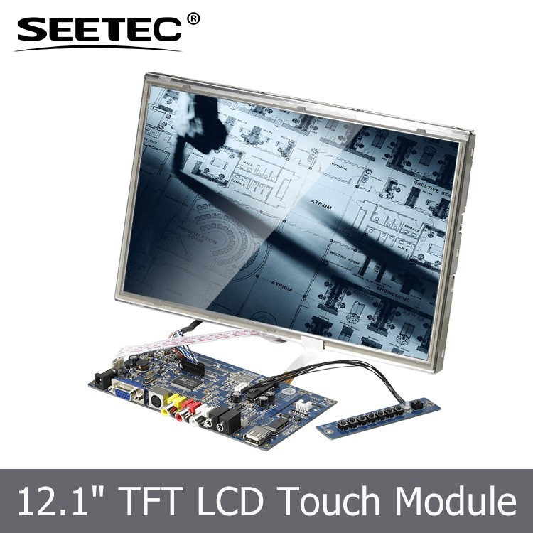 Factory Supplier 12.1'' TFT Widescreen Embedded Monitor 4&5Wire Resistive outdoor advertising led display <strong>screen</strong> prices