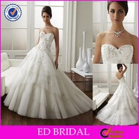 CE893 Sweetheart Strapless Backless Lace Bridal Dress Layers Train Expensive Wedding Gowns