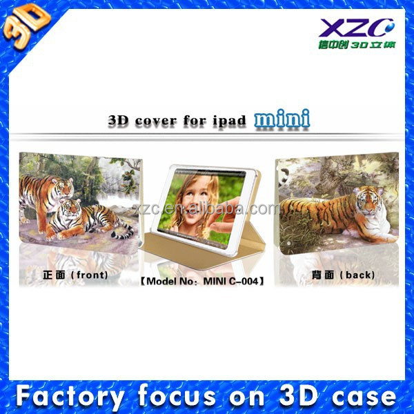 2015 3d printer leather tablet case for ipad mini with tiger image