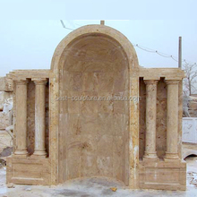 hand carved stone arch outdoor marble door frame with pillar design