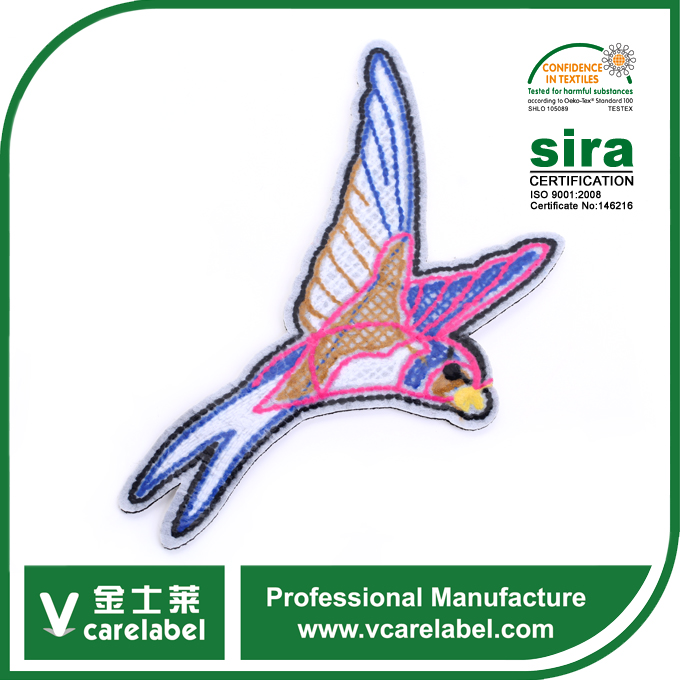 beatiful ANNIMAL embroidery badge custom BIRD embroidered patches