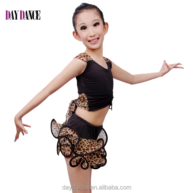 Children Girls Practice Latin Dance Dress Kids Leopard Sexy Vest Skirt Suit