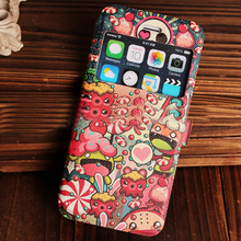 2015 New Custom waterproof Pu Leather case with colorful prints skin cover for iphone 6, iphone 6 puls